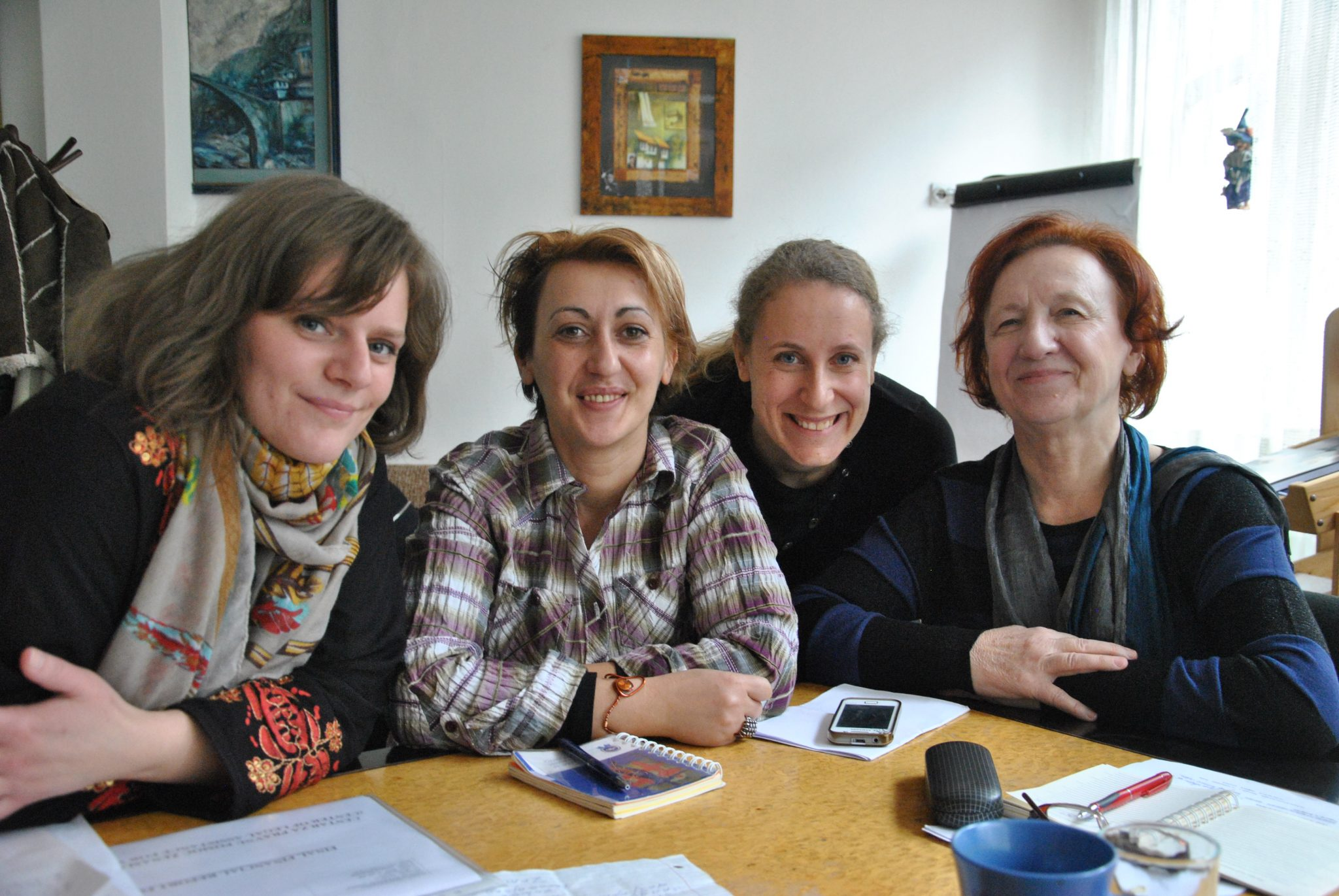 Bosnian women's rights activists preparing for an equality demonstration on 8 March, International Women's Day. Photo: Johanna Arkåsen / Kvinna till Kvinna
