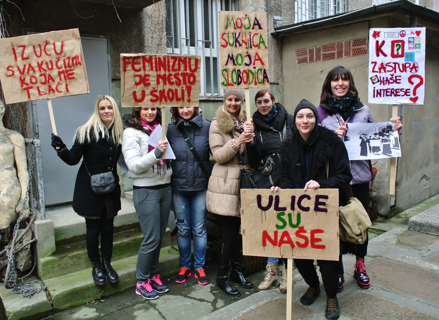 Women's activists ready for a demonstration on 8 March, International Women's Day. Photo: Women Against Violence Network, Serbia