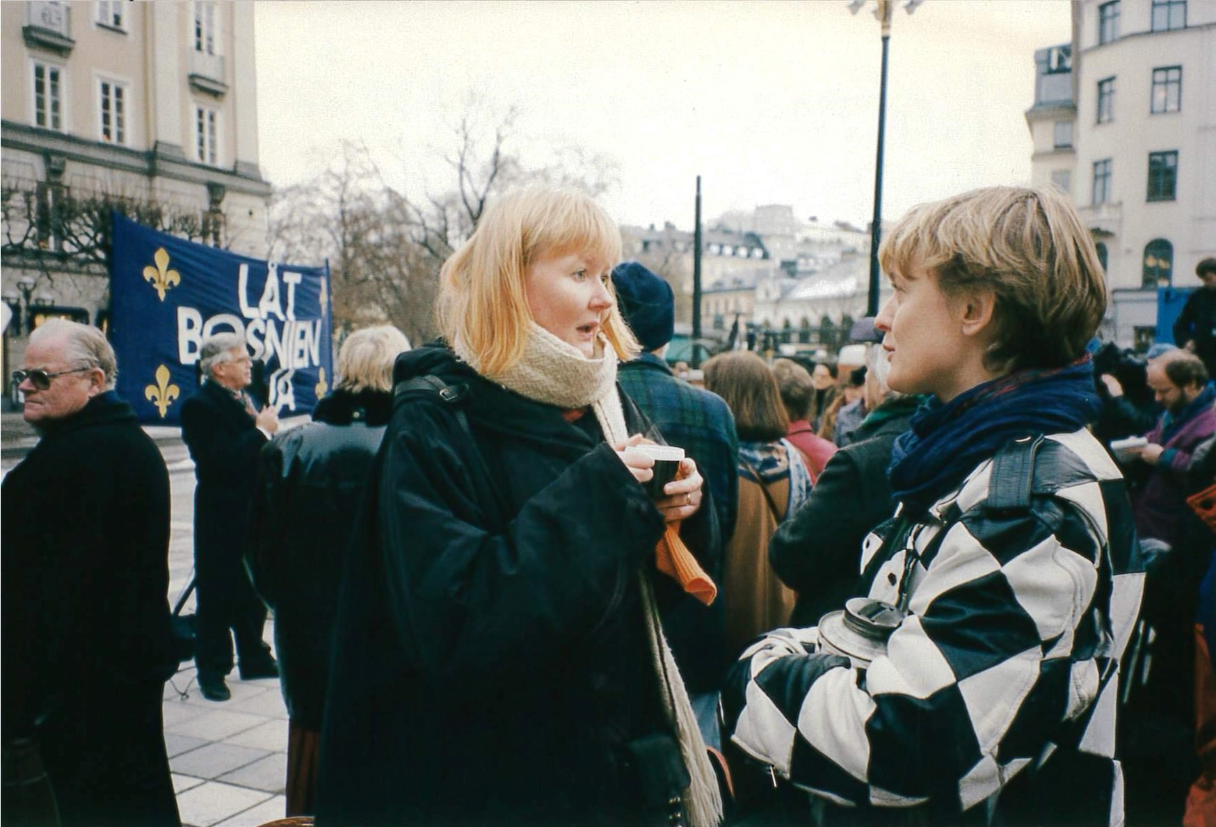 Eva Zillén at one of the gatherings on Norrmalm square in Stockholm, 1993.
