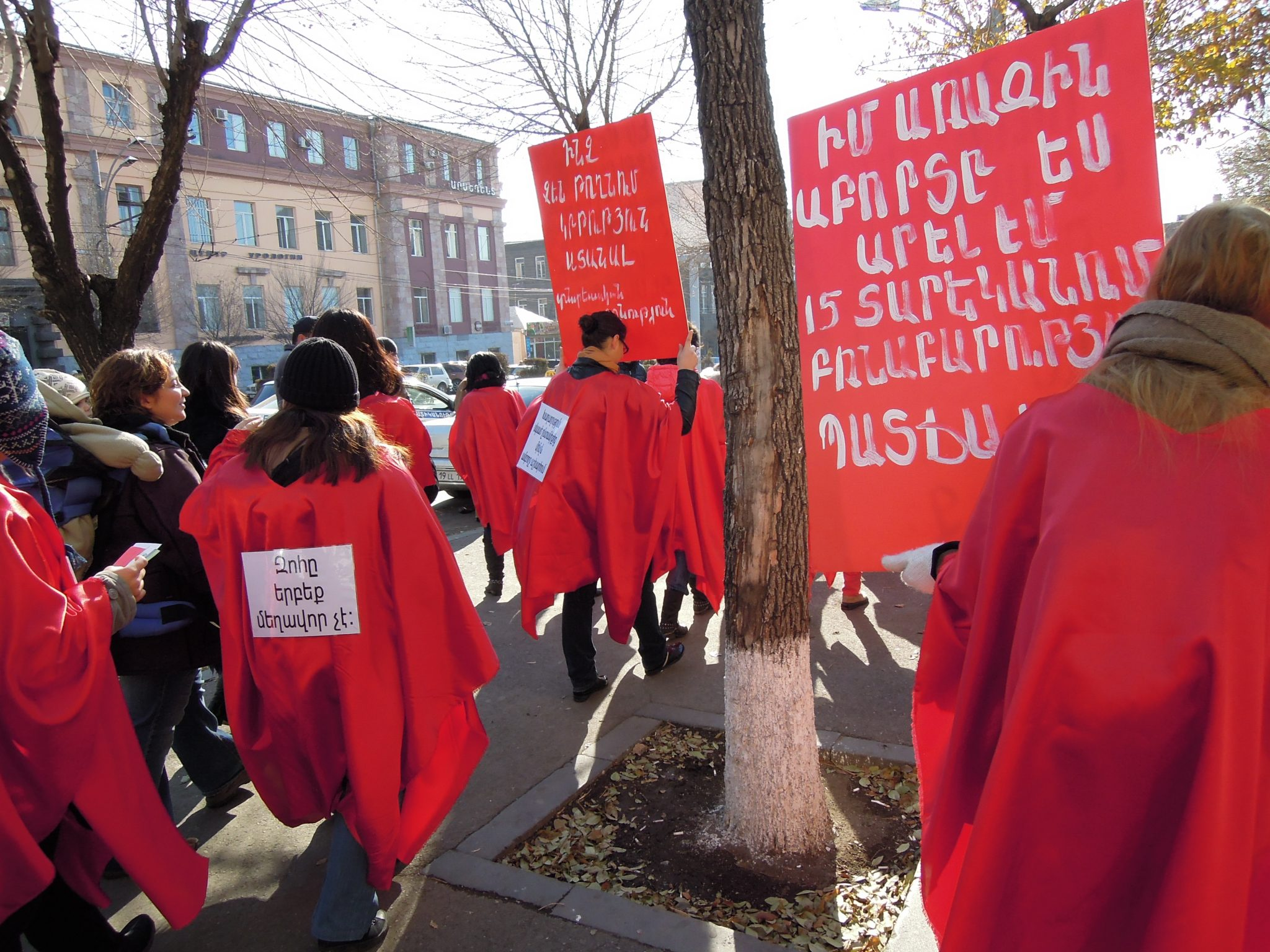 A protest march in Yerevan on November 25, the International Day for the Elimination of Violence against Women. Photo: Sara Hurtig.