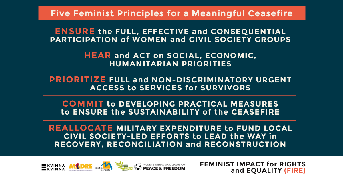 Five feminist principles for a meaningful ceasefire, presented by The Feminist Impact for Rights and Equality Consortium (FIRE).