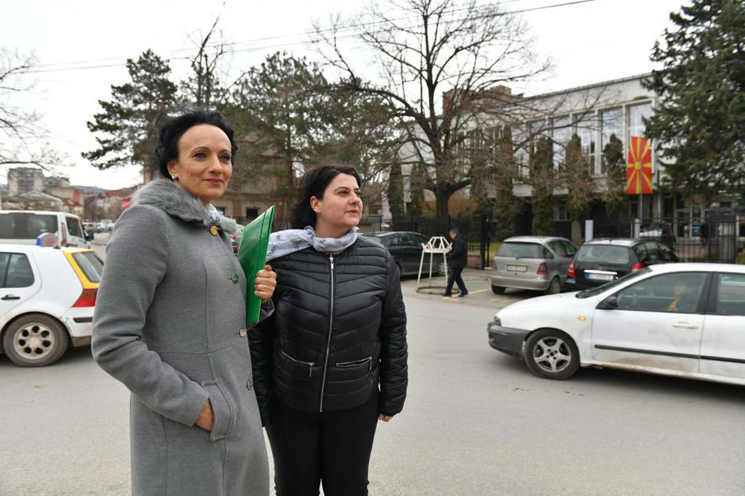 Beti Peeva, 54, and Blagica Kirov, 41, stand in front of the court in Štip. They're president and legal advisor at the women's rights organisation Educational Humanitarian Organisation (EcHO). Last year, EcHO took more than 60 cases of violence against women to court. Photo: Maja Janevska Ilieva