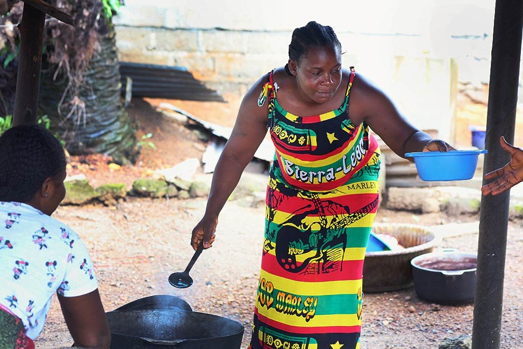Patience Harris is a single mother who runs a small business of selling food in her community. Photo: Wolobah Sali